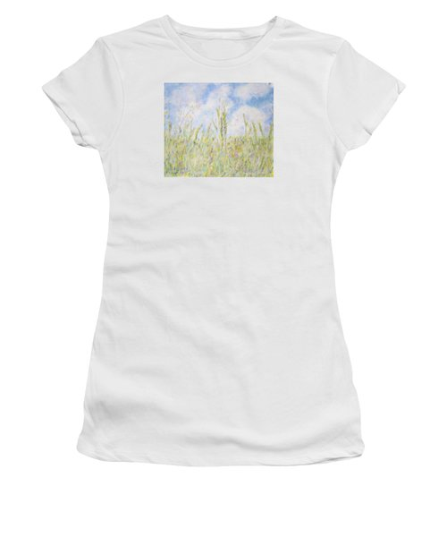 Wheat Field And Wildflowers Women's T-Shirt (Athletic Fit)