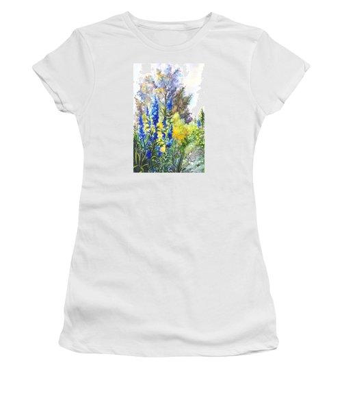 Where The Delphinium Blooms Women's T-Shirt (Junior Cut) by Carol Wisniewski