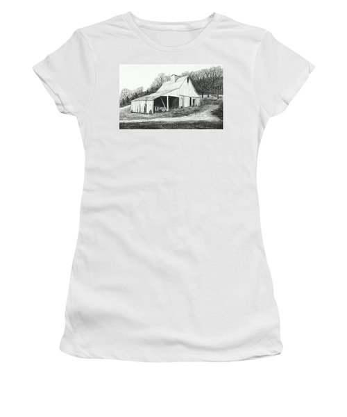 White Barn On Bluff Road Women's T-Shirt (Junior Cut) by Garry McMichael