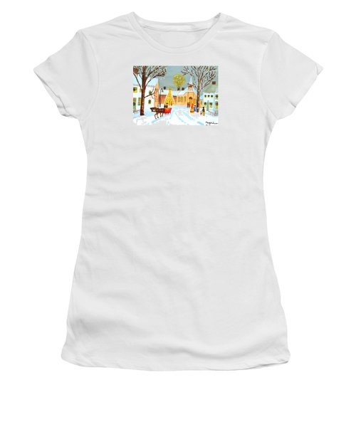 White Christmas Women's T-Shirt (Junior Cut) by Magdalena Frohnsdorff