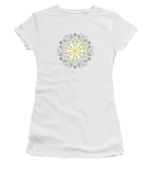 Giant White Dahlia I Flower Mandala White Women's T-Shirt