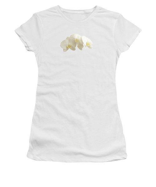 White Orchids On White Women's T-Shirt (Athletic Fit)