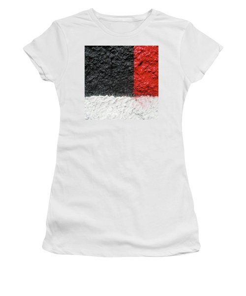 White Versus Black Over Red Women's T-Shirt (Athletic Fit)
