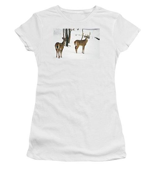 Whitetail Deer In Snow Odocoileus Women's T-Shirt