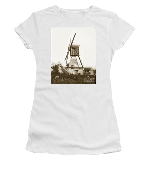 Women's T-Shirt (Junior Cut) featuring the photograph Wind Mill In France 1900 Historical Photo by California Views Mr Pat Hathaway Archives