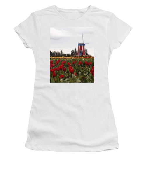 Windmill Red Tulips Women's T-Shirt (Junior Cut) by Athena Mckinzie