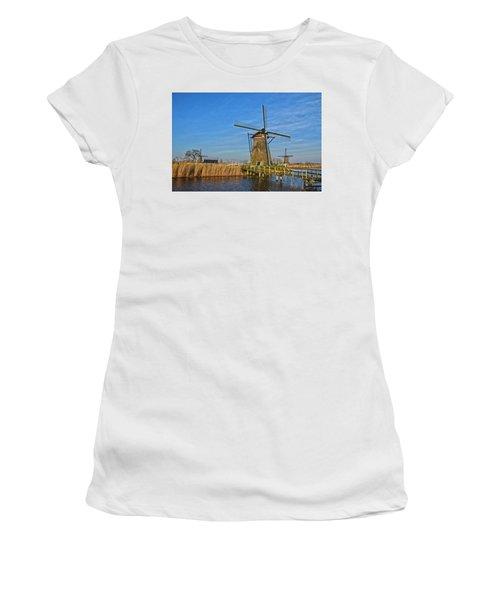 Windmills And Bridge Near Kinderdijk Women's T-Shirt (Athletic Fit)