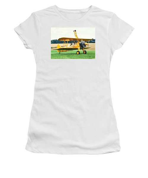 Women's T-Shirt featuring the photograph Wingwalking by Paul Gulliver
