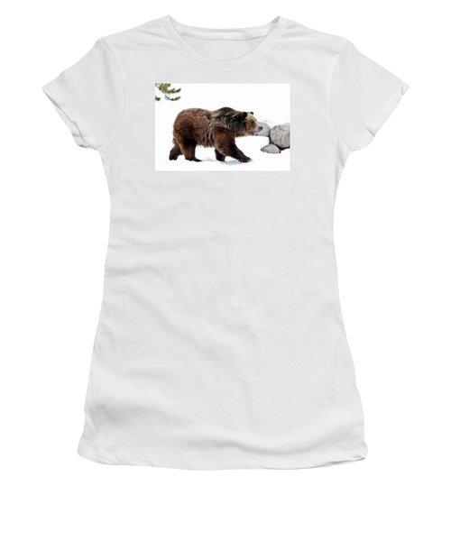 Winter Bear Walk Women's T-Shirt (Junior Cut) by Athena Mckinzie