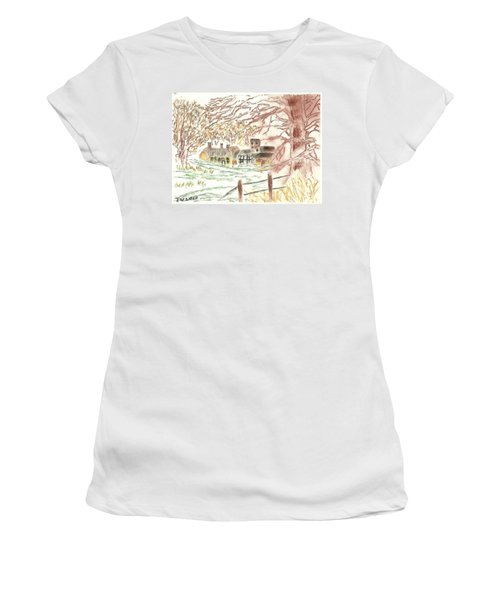 Winter In The Village Women's T-Shirt (Athletic Fit)