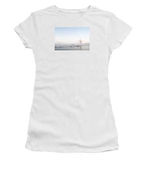 Winter Windmill Landscape In Holland Women's T-Shirt (Junior Cut) by IPics Photography