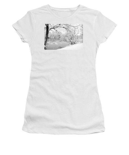Winter Wonderland In Black And White Women's T-Shirt (Athletic Fit)