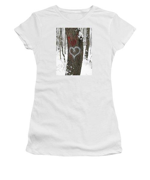 Winter Woods Romance Women's T-Shirt (Junior Cut) by Ann Horn