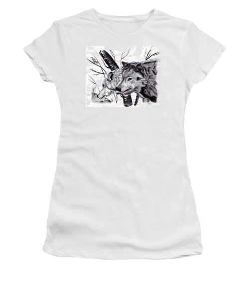 Women's T-Shirt (Junior Cut) featuring the drawing Wolves by Mayhem Mediums