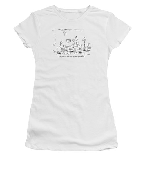 Woman At Desk In Front Of Her Computer Women's T-Shirt