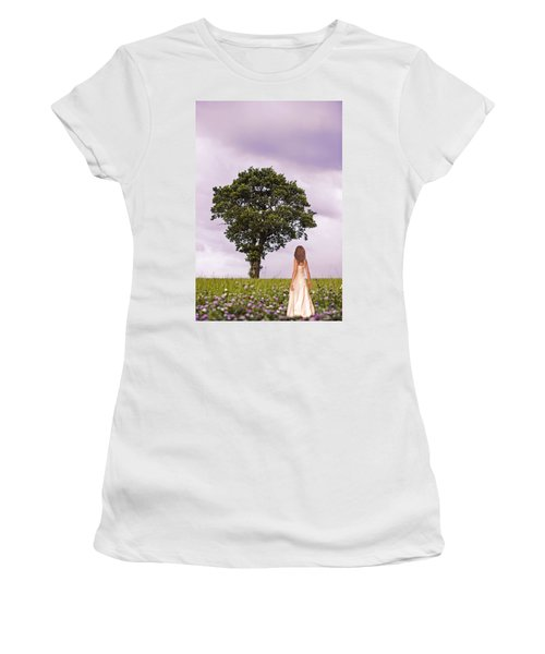 Woman In Country Field Women's T-Shirt