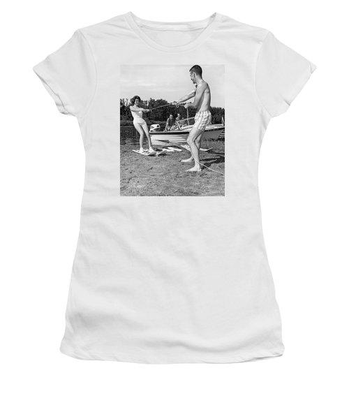 Woman Learning To Water Ski Women's T-Shirt