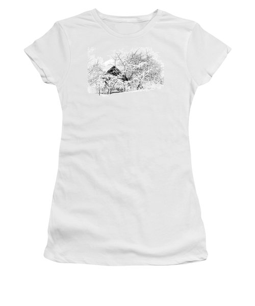 Wooden House After Heavy Snowfall. Russia Women's T-Shirt