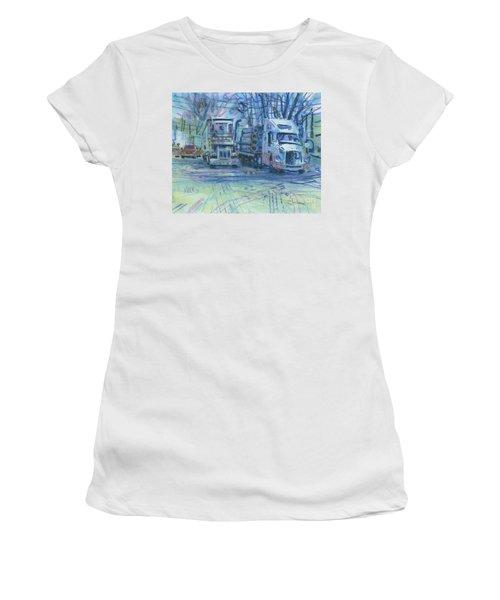 Women's T-Shirt (Junior Cut) featuring the painting Work Buddies by Donald Maier