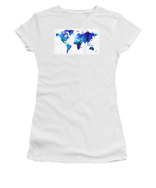 Women's T-Shirt (Athletic Fit) featuring the painting World Map 17 - Blue Art By Sharon Cummings by Sharon Cummings