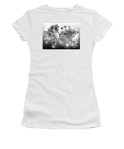 World Map Amuza In Black And White Women's T-Shirt (Junior Cut) by Eleven Corners