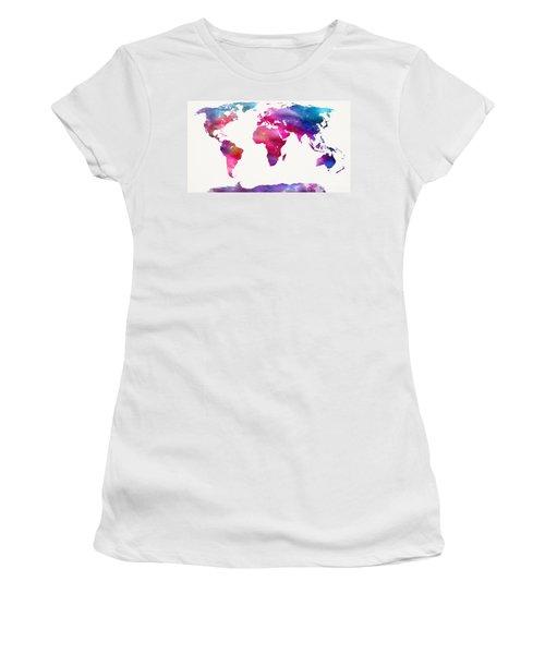 World Map Light  Women's T-Shirt (Junior Cut) by Mike Maher