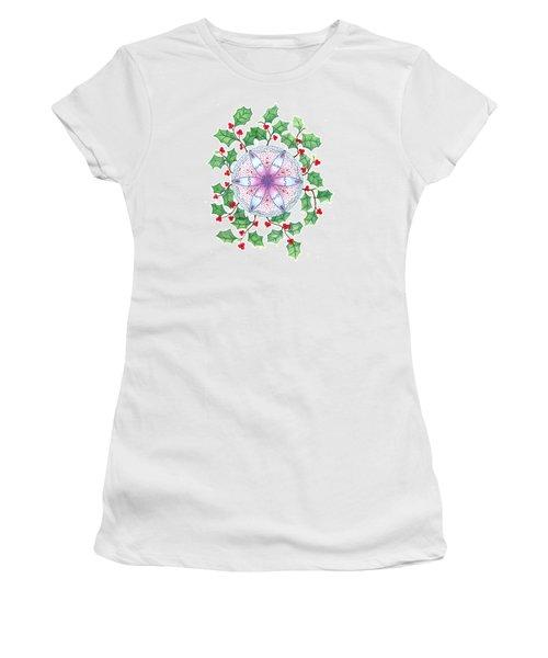Women's T-Shirt (Junior Cut) featuring the drawing X'mas Wreath by Keiko Katsuta