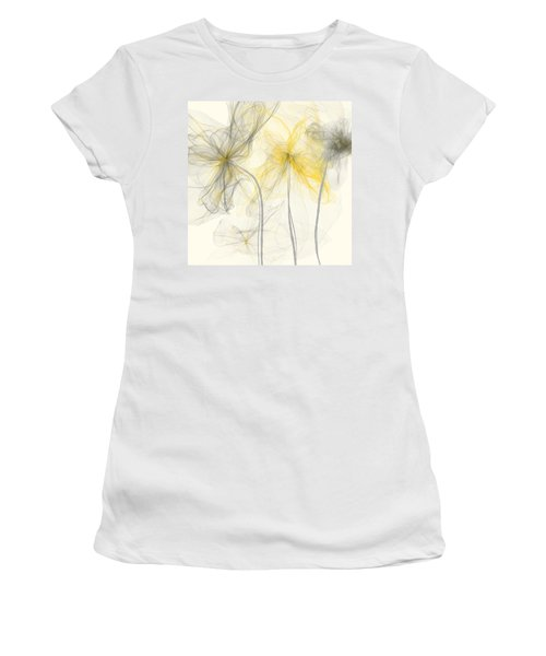 Yellow And Gray Flowers Impressionist Women's T-Shirt (Athletic Fit)