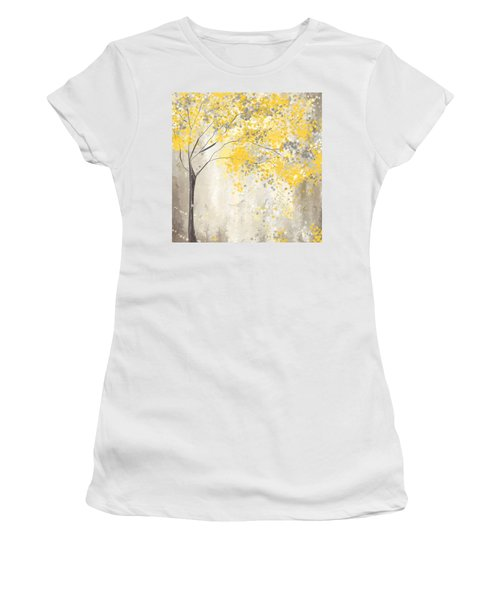 Yellow And Gray Tree Women's T-Shirt (Athletic Fit)