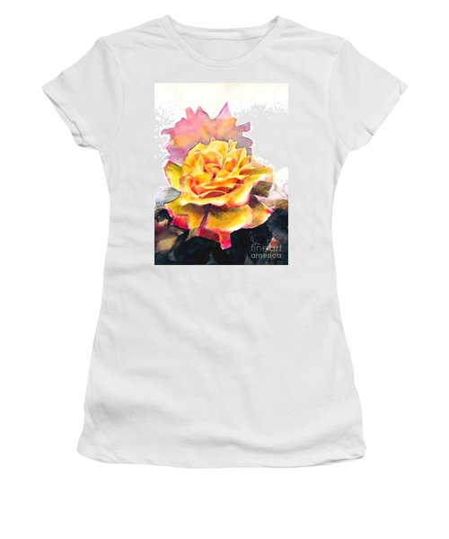 Women's T-Shirt (Junior Cut) featuring the painting Yellow Rose Fringed In Red by Greta Corens