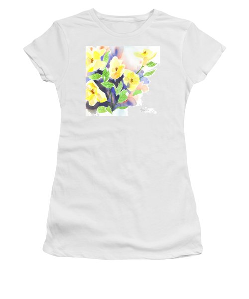 Women's T-Shirt (Junior Cut) featuring the painting Yellow Magnolias by Kip DeVore