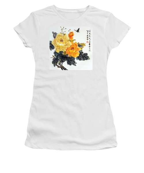 Yellow Peonies Women's T-Shirt (Junior Cut) by Yufeng Wang