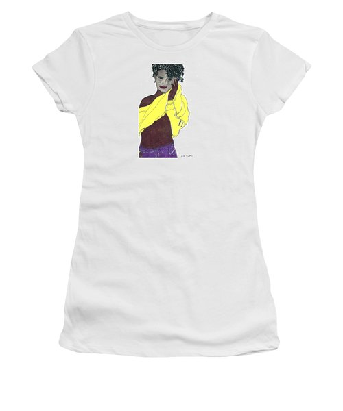 Women's T-Shirt (Junior Cut) featuring the drawing Yellow Sweater Model by Don Koester