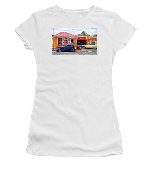 Yesterday's Shell Station Women's T-Shirt (Junior Cut) by Michael Pickett