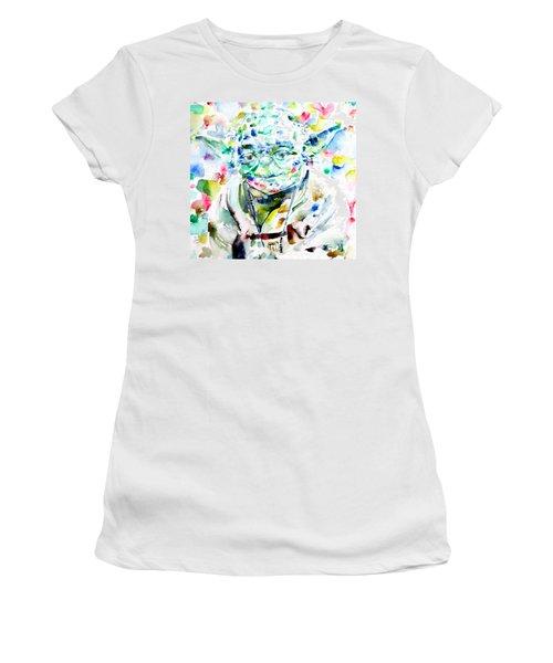 Yoda Watercolor Portrait.1 Women's T-Shirt (Athletic Fit)
