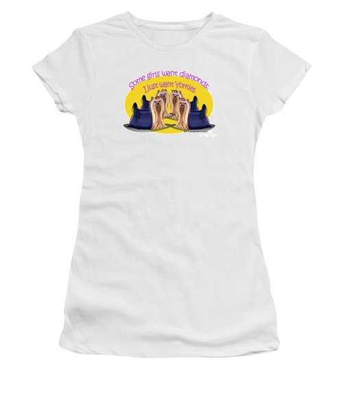 Yorkies Are A Girls Best Friends Women's T-Shirt (Junior Cut) by Catia Cho