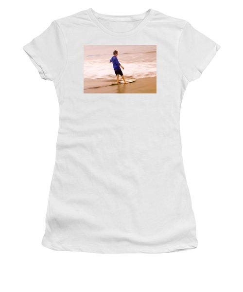 Young Boy Skimboarding, Santa Barbara Women's T-Shirt