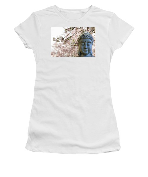 Zen Buddha Meditating Under Cherry Blossom Trees Women's T-Shirt (Athletic Fit)