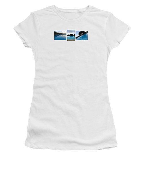 Women's T-Shirt (Junior Cut) featuring the photograph  Amalfi Coast Pool Reflections by Tanya  Searcy