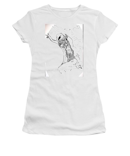 Women's T-Shirt (Junior Cut) featuring the drawing Dinka Dance - South Sudan by Gloria Ssali