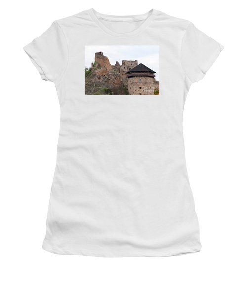 Women's T-Shirt (Junior Cut) featuring the photograph Filakovo Hrad - Castle by Les Palenik