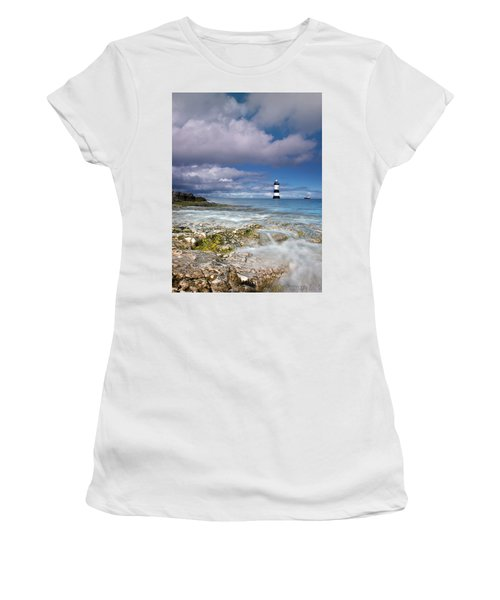Fishing By The Lighthouse Women's T-Shirt (Athletic Fit)