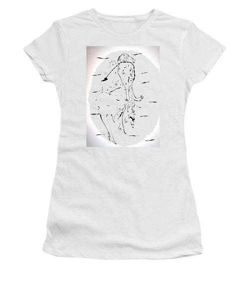 Women's T-Shirt (Junior Cut) featuring the drawing Malipenga Dance - Malawi by Gloria Ssali