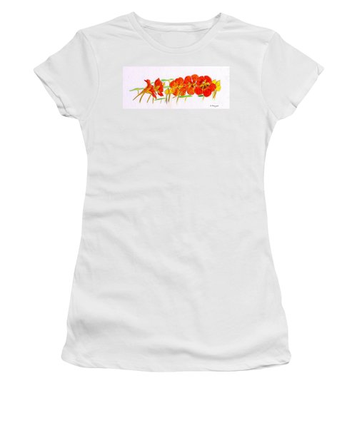 Women's T-Shirt (Junior Cut) featuring the drawing Nasturtiums by Barbara Moignard