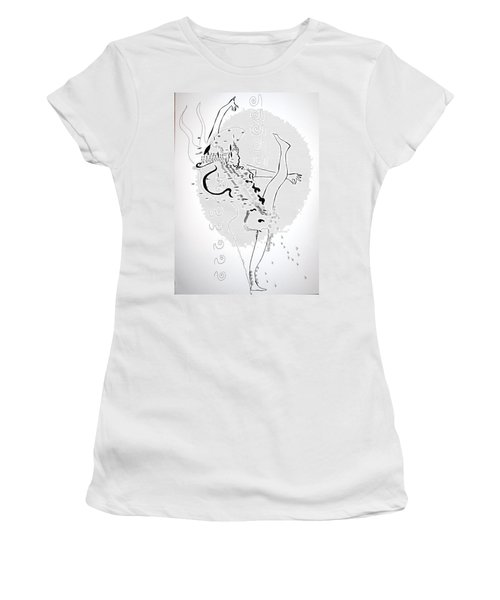 Women's T-Shirt (Junior Cut) featuring the drawing Zulu Dance - South Africa by Gloria Ssali