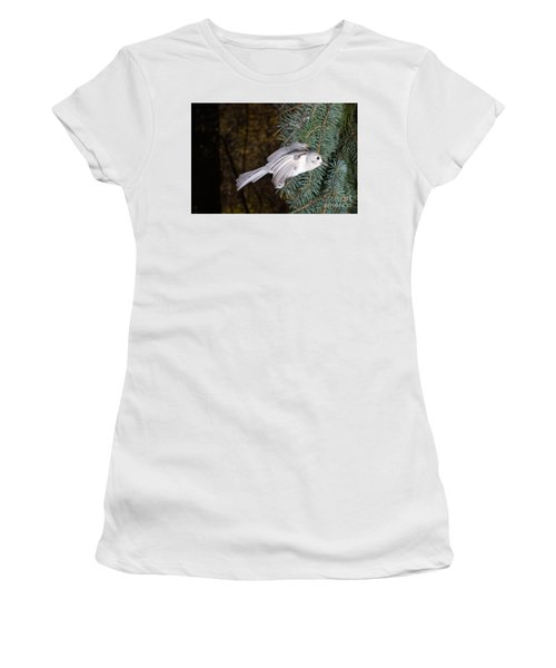 Tufted Titmouse In Flight Women's T-Shirt (Junior Cut) by Ted Kinsman