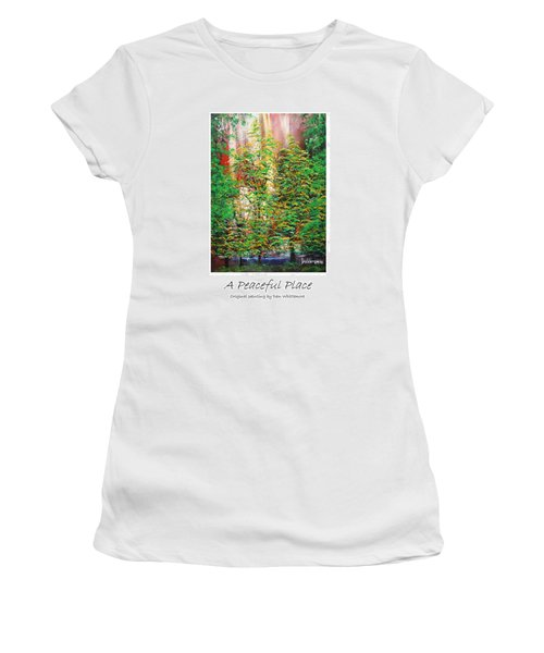 Women's T-Shirt (Junior Cut) featuring the painting A Peaceful Place Poster by Dan Whittemore
