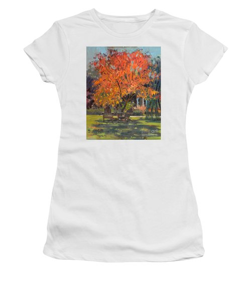 Women's T-Shirt (Junior Cut) featuring the painting Adirondack Chairs by Donald Maier