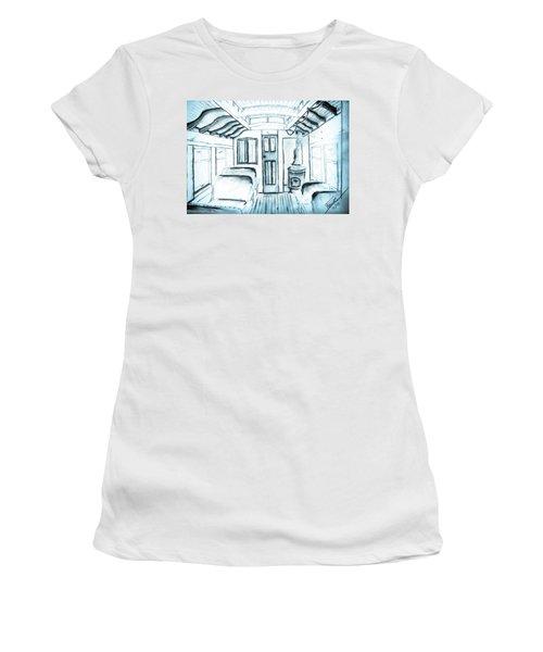 Women's T-Shirt (Junior Cut) featuring the drawing Antique Passenger Car by Shannon Harrington