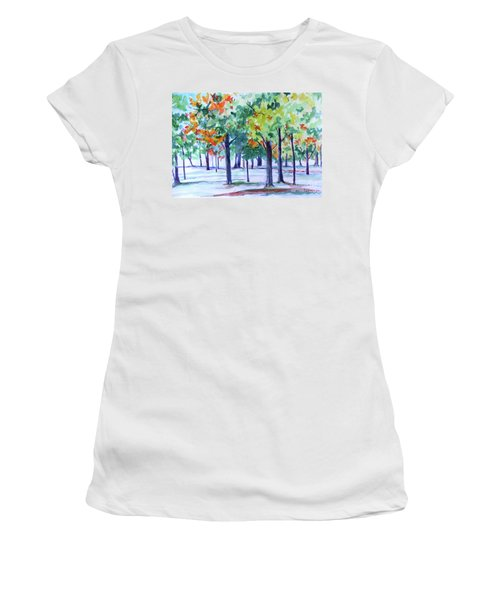 Autumn In The Park Women's T-Shirt (Junior Cut) by Jan Bennicoff